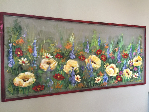Wild flowers,spring art,window screen decor,outdoor art,