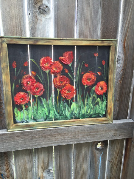 Red poppies gardens, window screen hand painting