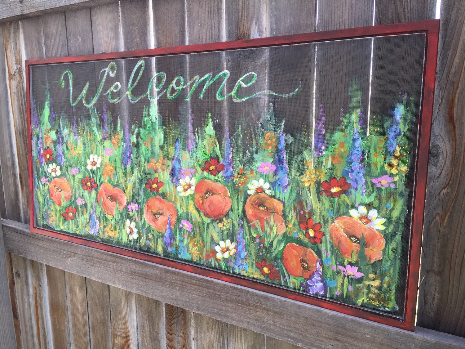 Welcome wild flowers sign,flowers on old window screen ,hand painting