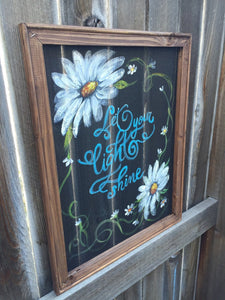 Let your light shine, Flowers on screen, recycled, window screen, hand painted