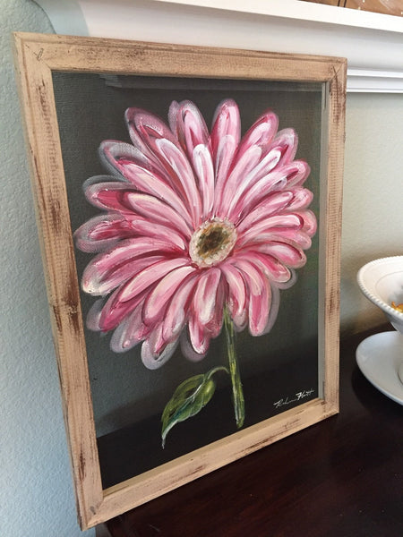 Gerbera daisy, pink daisy, pink flower, flower, window screen hand painting