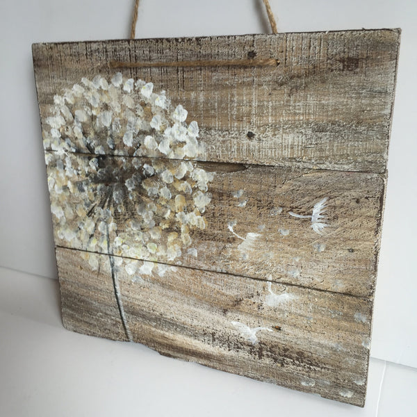 Dandelion on rustic wood,reclaimed wood,original handmade,