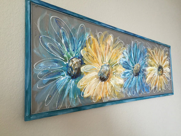Flowers,Blue and Yellow Flowers,hand painted window,screen art,porch decor,outside art,