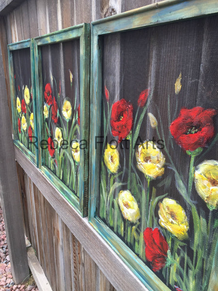 Red and Yellow Poppies ,window screen, hand painting set of 3 ,rustic poppies
