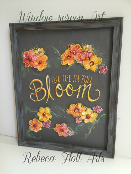 Front porch decor.outdoor decor.outdoor patio decor. front door decor. outdoor decorations.front porch sign, original art, full bloom