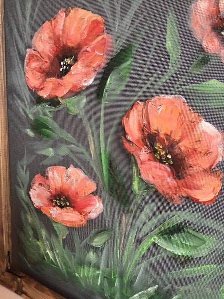 Coral Poppies,window screen painted,flowers,coral flowers,Indoor and outdoor art,wall art ,wall decor, floral