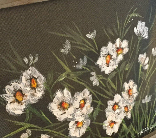 Daisies On White,recycled, outdoor and indoor art, flowers,Daisy Flower Painting, Daisy Flower art,