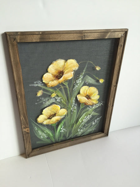 Yellow Poppies,Hand painted Poppies,Window screen art,wall art, indoor and outdoor art,porch decor