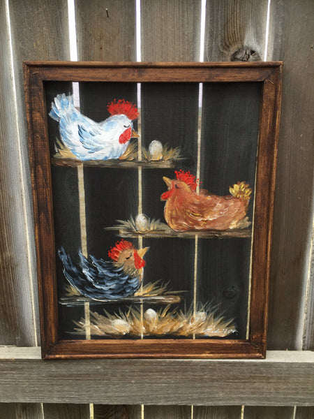 Chickens,rustic art,country art ,Chickens friends,painted windows,screens