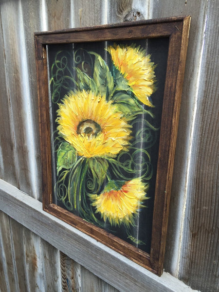 Sunflower lll ,rustic wood sunflower,Sunflowers dancing,Wood and screen,window screen painting