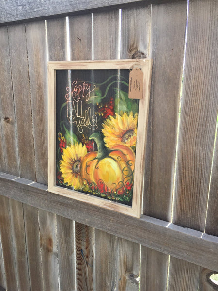 Fall painting,Pumpkin and Sunflower,wall art,porch decor,outdoor art,window screen art,original, handmade,hand painted,customize,happy fall