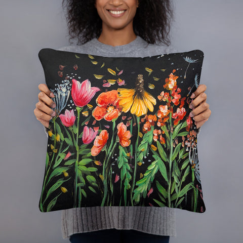 Wildflower Pillow Case by  Rebeca Flott Arts