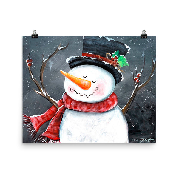 Happy Snowman Friend, Print Original Art by Rebeca Flott Arts
