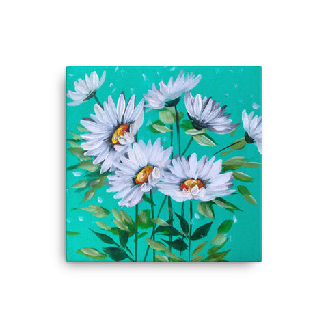 Daisies on Teal  Canvas Painting by Rebeca Flott Arts