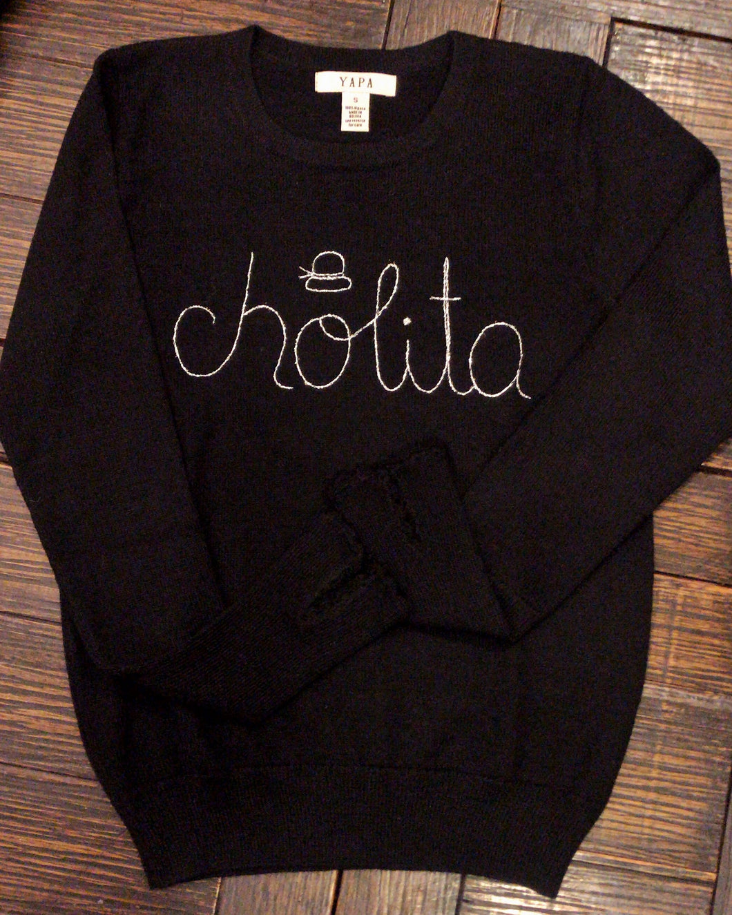 Black Baby Alpaca Wool Sweater CHOLITA
