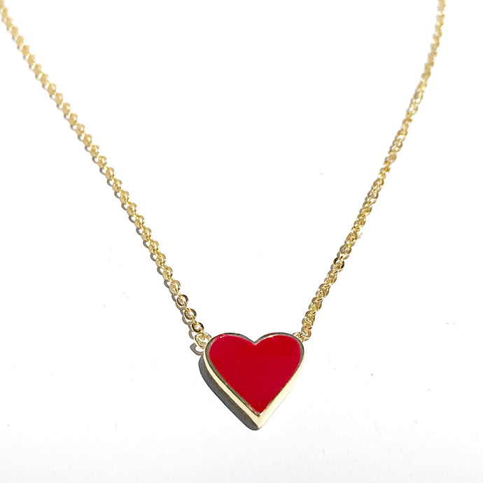 Gold plated red heart enamel necklace, perfect gift