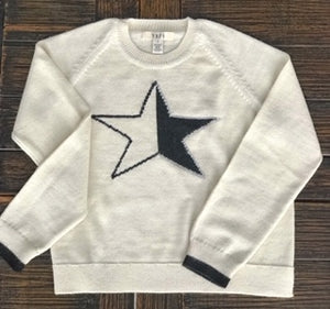 White and black baby alpaca wool Sweater ESTRELLA