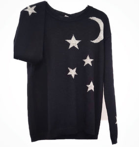 Black Baby Alpaca Wool Sweater with moon and stars LUNAR