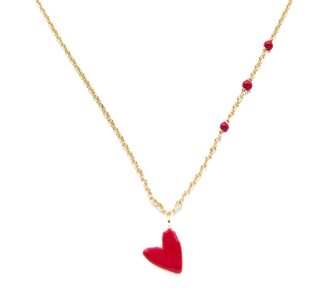Red Heart Charm gold plated Necklace VALENTINA