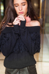 Black Off Shoulder Fringe Baby Alpaca Wool Sweater LUCY