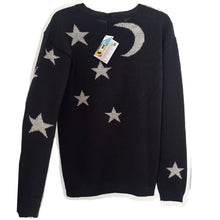 Load image into Gallery viewer, Black Baby Alpaca Wool Sweater with moon and stars LUNAR
