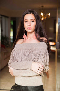 Beige Off Shoulder Fringe Baby Alpaca Wool Sweater LUCY