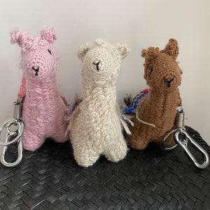 handmade alpaca keychain and bag accessories sustainably made in Bolivia  by artisans in pure baby alpaca wool