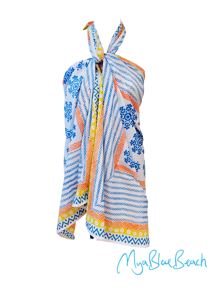beachwear cover-ups a sarongs and designer beachwear pareos by myabluebeach. Moroccan tile print inspired beachwear . Moroccan tile beachwear kaftans by MyaBlueBeach . Shop Kafatns in UK . Shop Beachwear in UK