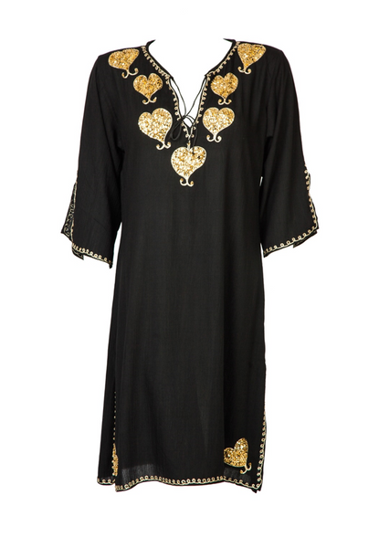 plus size beach kaftan, black designer kaftan  Amore , plus size beachwear kaftans embelished with gold  to buy in UK and buy in Germany