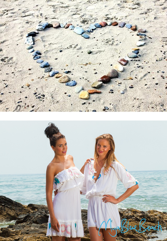 Beachwalsk sand on yout toes wearing floarty effortless white cotton desigenr kaftans. White cotton dresses and beach dresses by MyaBlueBeach. Buy beachwear in UK