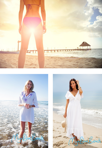 Beach walks in cototn kafatns and cototn designer beachwear cover-ups. Designer kaftans and buy kaftan tops by British Designer MyaBlueBeach
