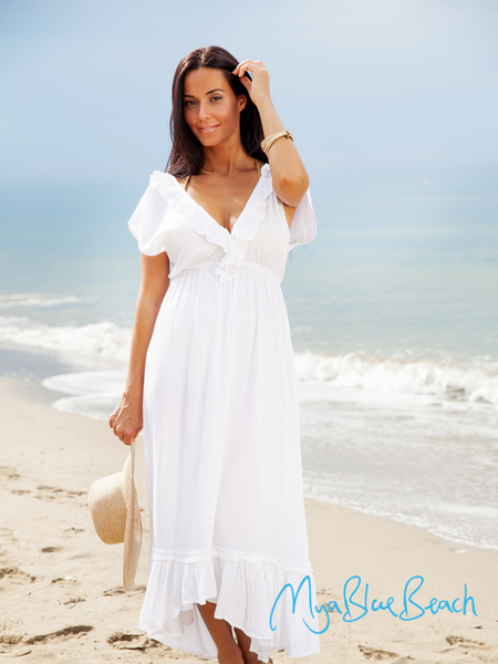 Carrie maxi kaftan dress for beach walks. the perfect beachwear and resortwear designer cover-up