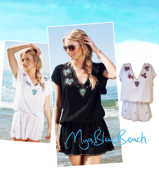 Mya Blue Beach Deep V-Back Mini Dress Black or White Beach Cover-Up