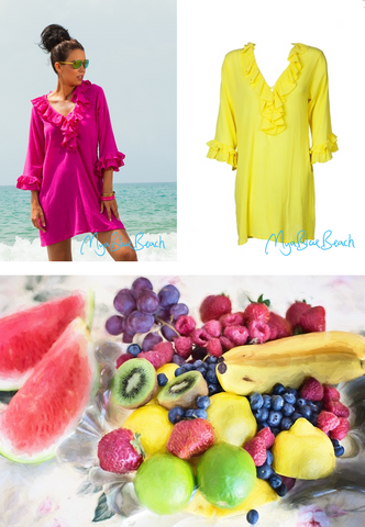 Fabulous tropical foods on holiday. Wear bright coloured cotton kaftans on holiday in Barbados. Buy bright cotton kaftans to wear on a cruise. Designer kafatns and designer beachwear