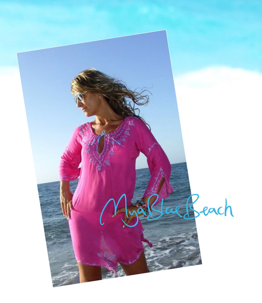 Mya Blue Beach Pink Cotton Ourika Kaftan Pear Shaped Fuller Figure