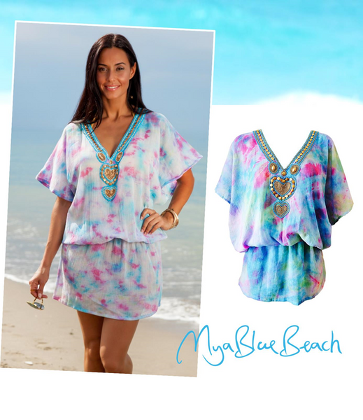 Mya Blue Beach Majorca Kaftan Mini Dress Hand Painted