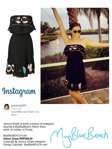Jessica Wright wearing designer beachwear brand  MyaBlueBeach Black Atheni Strapless Dress  to buy in UK and to buy in USA