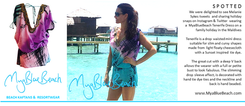 Melanie Sykes @MsMelanieSykes in cheesecloth mini dress by MyaBlueBeach in Maldives