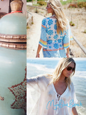 Moroccan Tile printn are inspiration behind the beachwear kaftans and cotton cover-ups this season