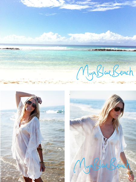 San Jose White Cotton Beach Poncho MyaBlueBeach Barbados