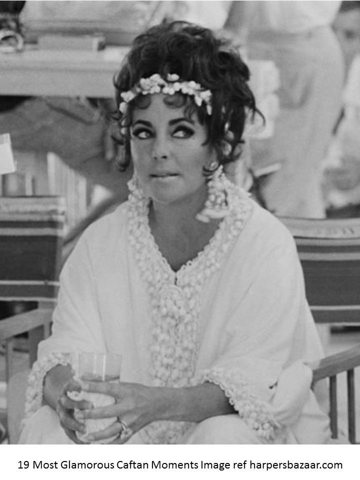 iconic Elizabeth Taylor lounging off set wearing a Caftan, the fasshion item of the 60's and 70' s evolves again in 2015 with the designer beach kaftans by myabluebeach