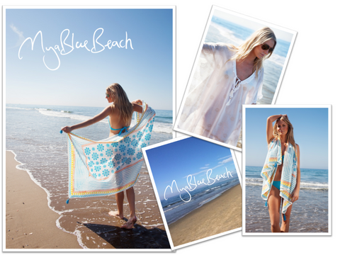 printed beach ponchos and printed beach kaftans by designer beachwear brand in UK , myabluebeach , stylish holiday tunics and beach to bar kaftans