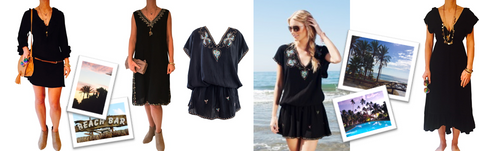 black is back. Designer black kaftans and designer black beachwear  cover-ups for hot summer sun