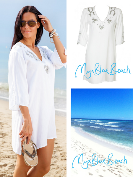 MyaBlueBeach electra designer beach kaftans and beach caftans, kaftan tops,  designer beachwear designer kaftans to buy in UK
