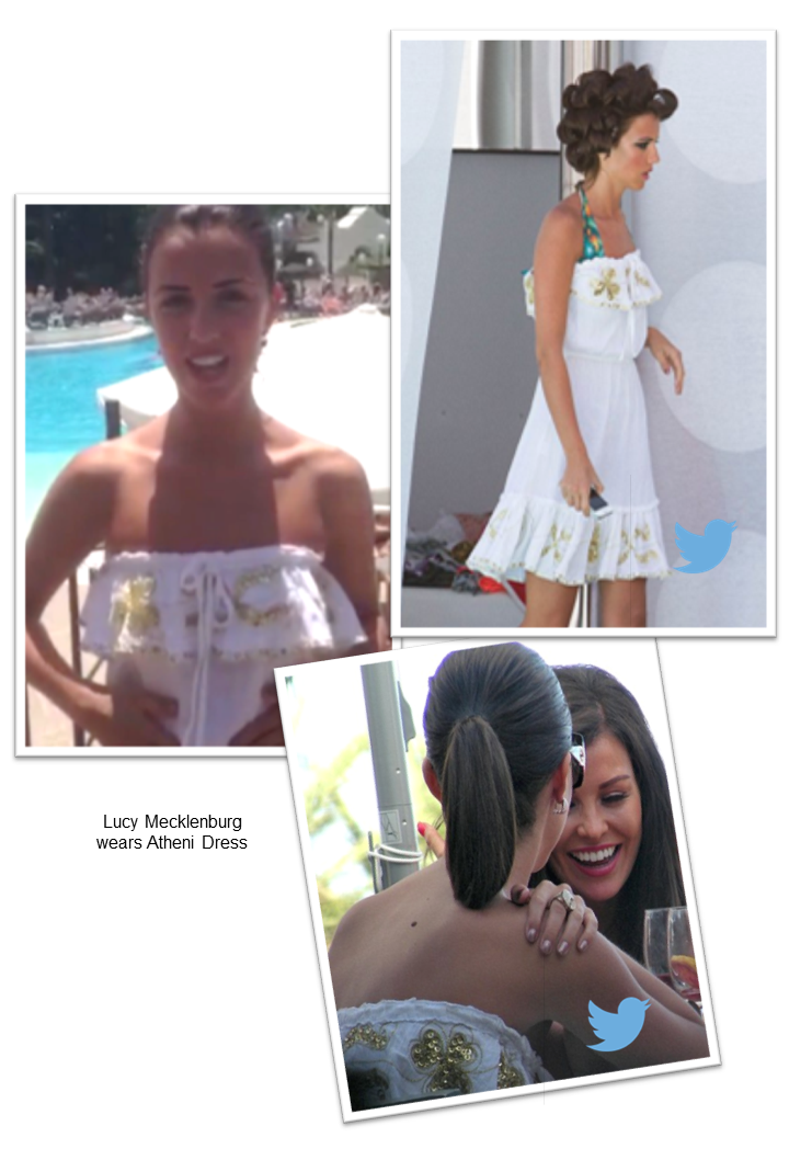 Lucy Mecklenburgh wears myabluebeach strapless white holiday dress