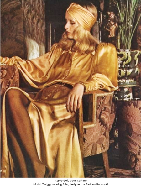 Mya Blue Beach Twiggy Gold Silk Kaftan by Biba 1973