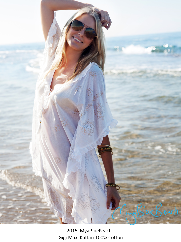Mya Blue Beach San Jose White Cotton Kaftan