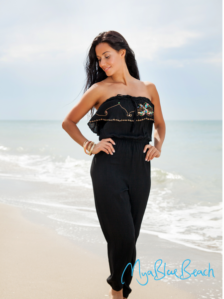 Black Elena Strapless Cotton Jumpsuit to wear on a Carribean holiday and perfect for a Spanish holiday , to buy beach kaftans in UK, shop designer kaftans in UK