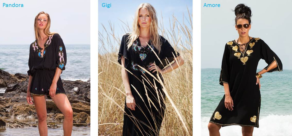 myabluebeach buy in UK designer beach kaftans, black maxi kaftans black cotton beach dresses designer beach kaftans and holiday dresses