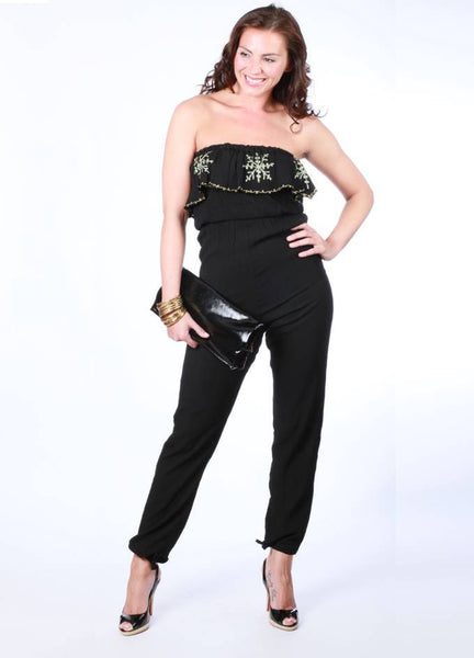 SALUT - Black & Green Strapless Holiday  Jumpsuit